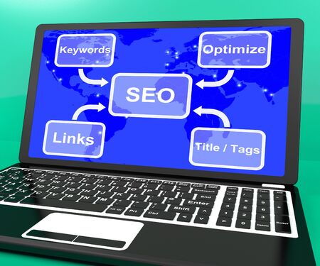 SEO Diagram On Laptop Shows Use Of Keywords Links And Tags Stock Photo - 15083811