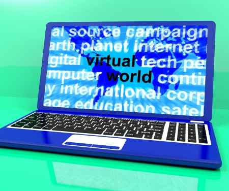 Virtual World Words On Laptop Shows Global Internet photo