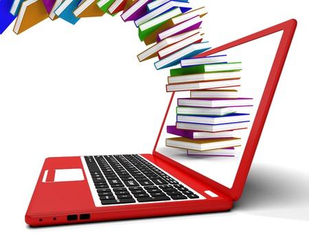 pile of books: Pila di libri con voli da computer Risultati di apprendimento on-line