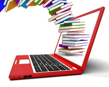 Stack Of Books Flying From Computer Showing Online Learning photo