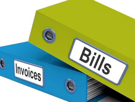 accounts payable: Bills And Invoices Files Showing Accounting And Expenses