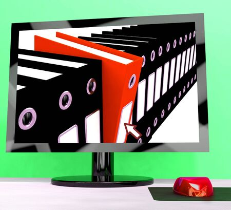 Computer With Files Showing Organizing Data Stock Photo - 15085088
