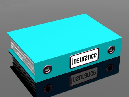 insure: Insurance Policy Coverage File Contains Policies Stock Photo