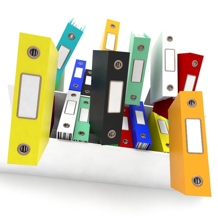chaotic: Files Falling Showing Disorganized And Chaotic Office  Stock Photo