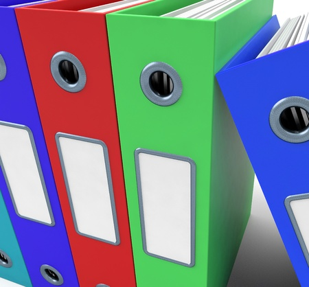 organised: Row Of Colorful Files To Get Office Organised Stock Photo