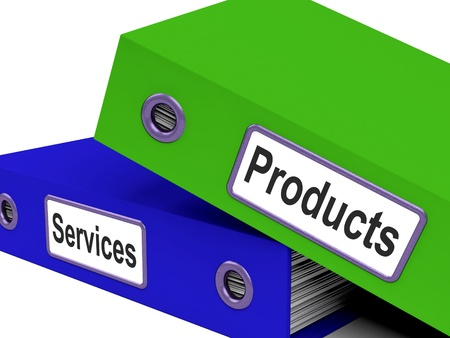 製品の販売を示すサービス ファイルと小売 写真素材