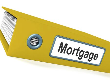 Mortgage Computer Key Shows Real Estate Borrowing Stock Photo - 15084690