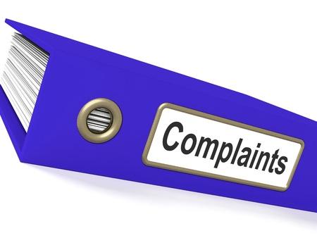 Quejas archivo que muestra los informes de quejas y registra