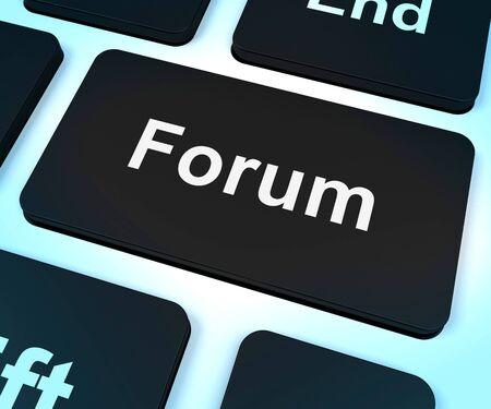 forum: Forum Computer Key Shows Social Media Community Or Information
