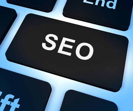 optimizer: SEO Computer Key Shows Internet Marketing And Optimization Stock Photo