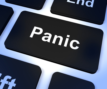 Panic Computer Key Shows Trauma Stress And Hysteria Stock Photo - 15084702