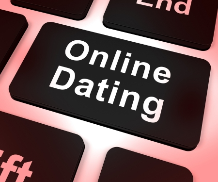 dating and romance: Online Dating Computer Key Shows Romance And Web Love Stock Photo