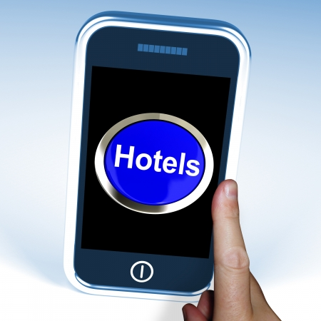 accomodation: Hotel Button On Phone Showing Travel And Room