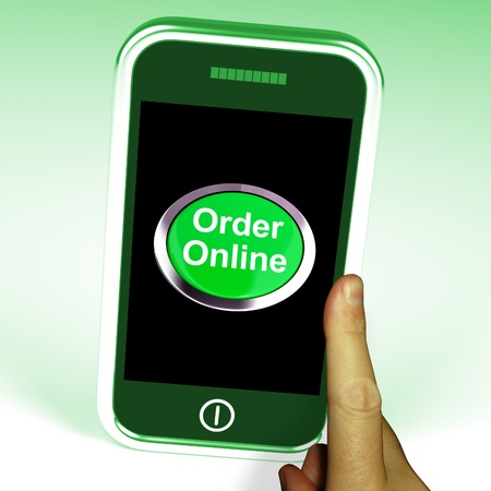 Order Online Button On Mobile Showing Buying On The Web Stock Photo - 15085330