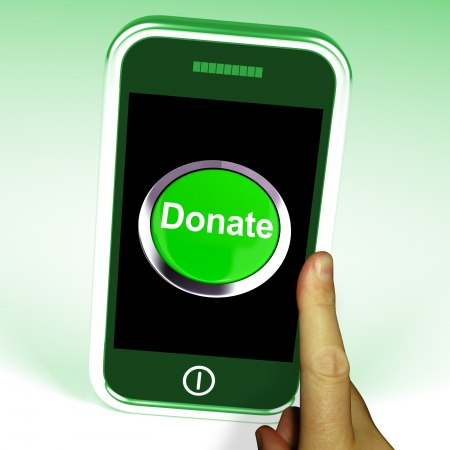 Donate Button On Mobile Showing Charity And Fundraising photo