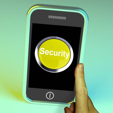 Security Button On Mobile Showing Encryption And Safety Stock Photo - 15085327