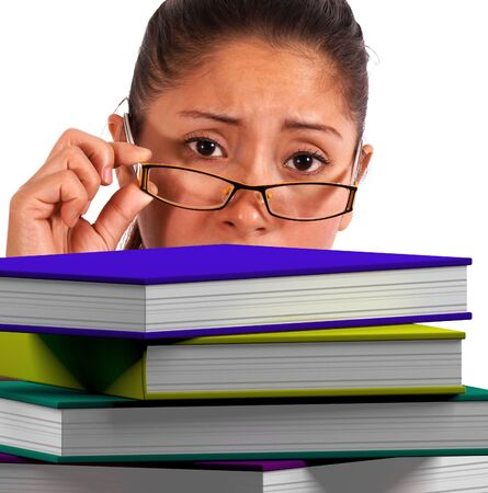 Lady Looking At Books Showing Education photo