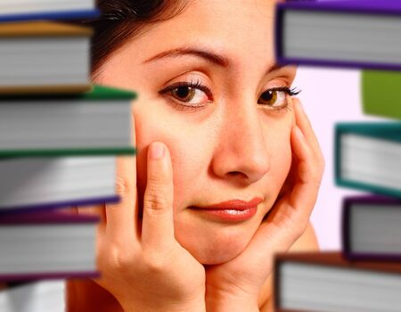 Student Worrying About Many Books To Read photo