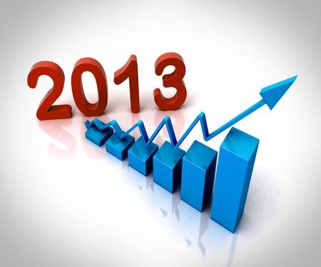 2013 Blue Bar Chart Showing Budget Versus Actual Stock Photo - 16517717