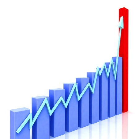 Graph at Angle Showing Budgeted Progress Against Actual Increment Stock Photo - 16517827