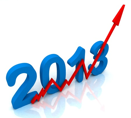 2013 Red Arrow Showing Sales Turnover For Year Stock Photo - 16517812
