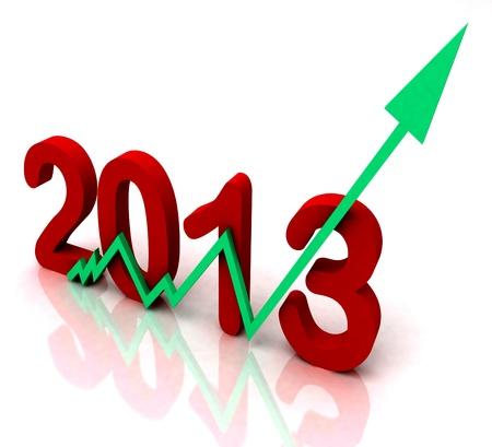 omzet: 2013 Green Arrow weergegeven Sales Omzet voor het jaar Stockfoto