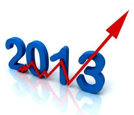 Angled 2013 Red Arrow Showing Sales Turnover For Year Stock Photo