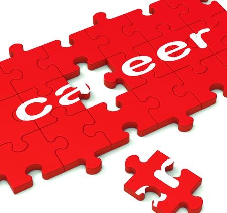 career opportunity: Career Puzzle Showing Working Plans And Employment Pathway Stock Photo