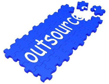 freelancing: Outsource Puzzle Showing Subcontract, Employment And Freelance