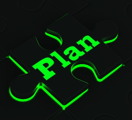Plan Glowing Puzzle Shows Targets, Goals And Objectives Stock Photo - 16517762