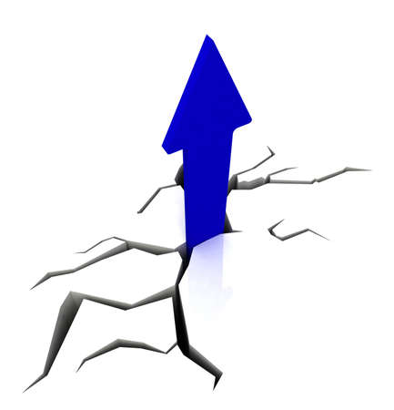 Blue Upward Arrow Showing Breakthrough Profit Achievement Stock Photo - 16517912