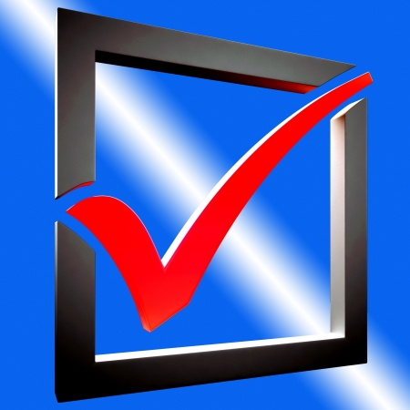 Red Tick Showing Endorsed, Checked and Success Stock Photo - 16517685