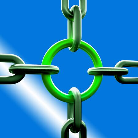 Green Chain Link Showing Strength Security Safety and Togetherness Stock Photo - 16517783