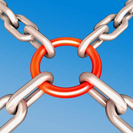 Red Chain Link Showing Strength Security Safety and Togetherness Stock Photo - 16517614