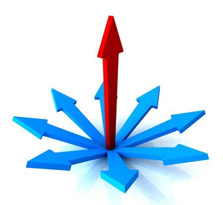 chosen: Red Vertical Arrow Showing Path Direction Chosen Stock Photo