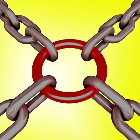 Red Link Yellow Background Showing Strength Security Safety and Togetherness Stock Photo - 16517631