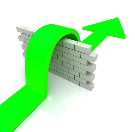 meaning: Green Arrow Over Wall Meaning Overcome Obstacles to Success Stock Photo