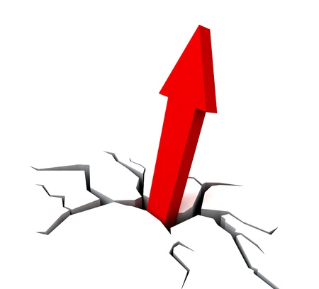 Red Upward Arrow Showing Breakthrough Profit Achievement Stock Photo - 16517911