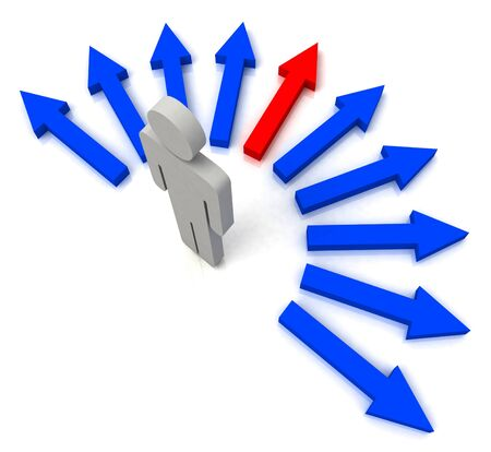 Person With Blue Arrows Showing Pathway Chosen photo