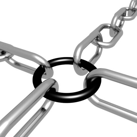 Black Link Chain Showing Strength Security Safety and Togetherness Stock Photo - 16517881