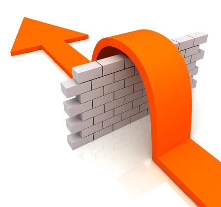 difficulties: Orange Arrow Over Wall Meaning Overcome Obstacles to Success Stock Photo