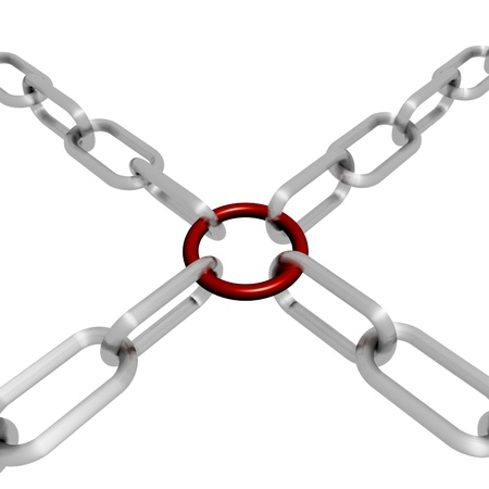 Red Link Chain Showing Strength Security Safety and Togetherness Stock Photo - 16517904