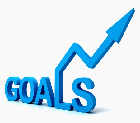 Blue Goals Word Showing Objectives Hope Aiming Mission And Future Stock Photo - 16517908