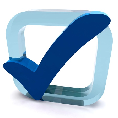 Boxed Blue Tick Showing Quality Excellence Approved Passed Satisfied Stock Photo - 16517897