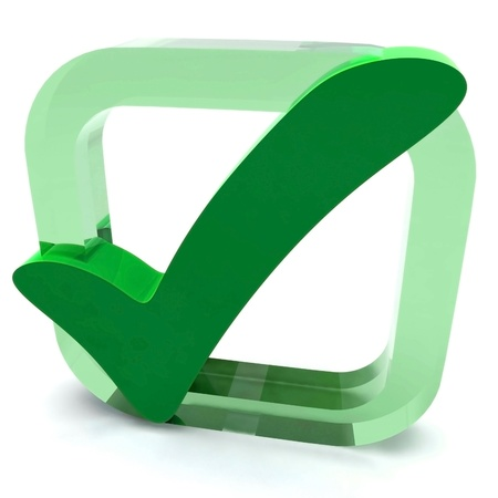 quality stamp: Green Tick Showing Quality Excellence Approved Passed Satisfied Stock Photo