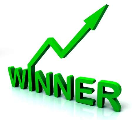 triumphant: Green Winner Word Showing Successes And Victory