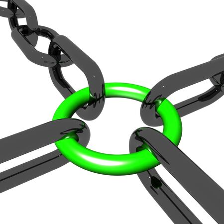 Green Four Way Link Showing Connection and Togetherness Stock Photo - 16517841