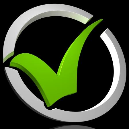 circled: Green Tick Circled Mostrando Excelencia de Calidad Aprobado Aprobado Satisfecho Foto de archivo