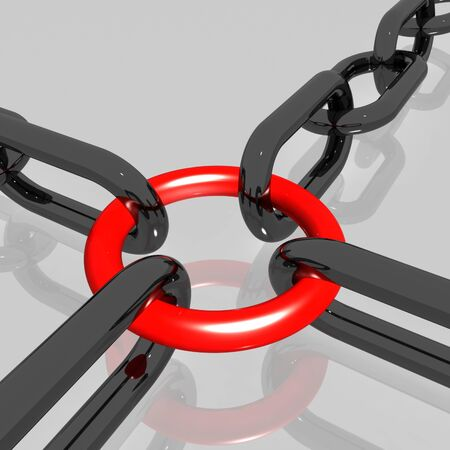 Red Link Chain Showing Teamwork, Connected And Strength Stock Photo - 16517689