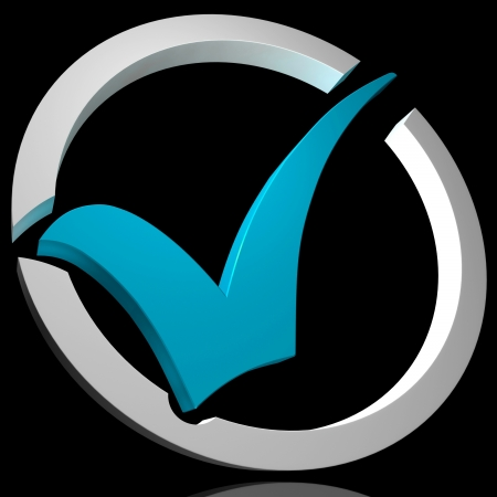 Blue Tick Circled Showing Quality Excellence Approved Passed Checked Good Stock Photo - 16517833